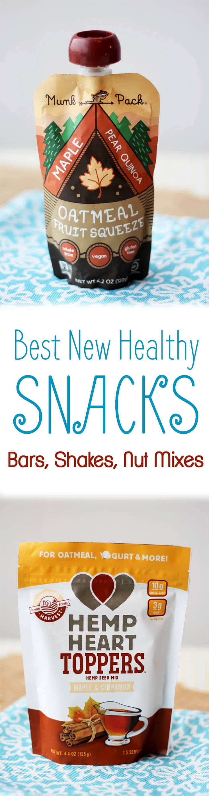 """A pinterest image of snacks with the text overlay \""""Best New Healthy Snacks Bars, Shakes, Nut Mixes.\"""""""