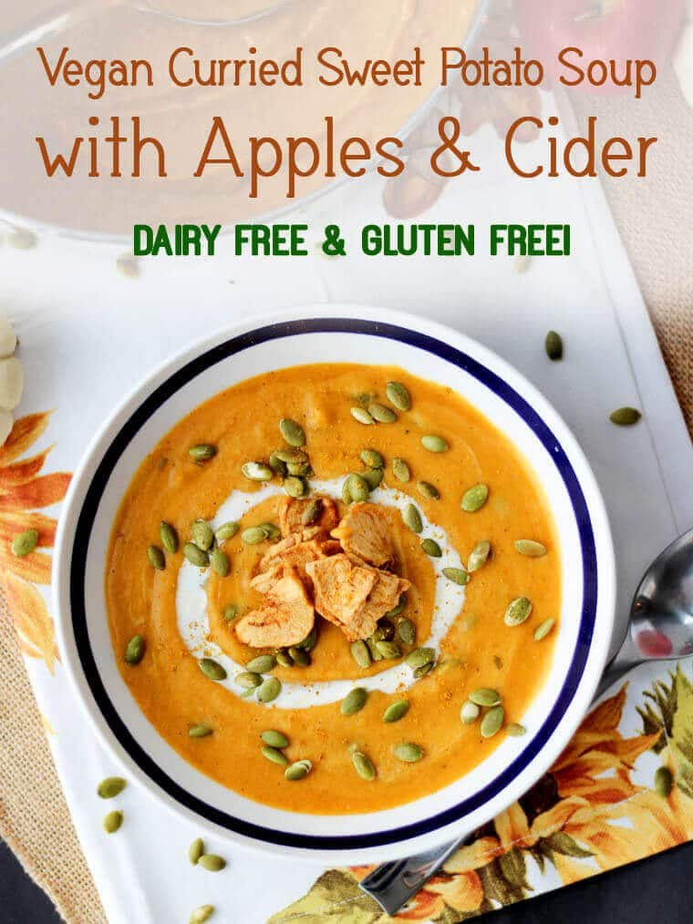 This vegan curried sweet potato soup with apples and cider is a delicious light appetizer or lunch for cool weather packed with fibre and antioxidants.