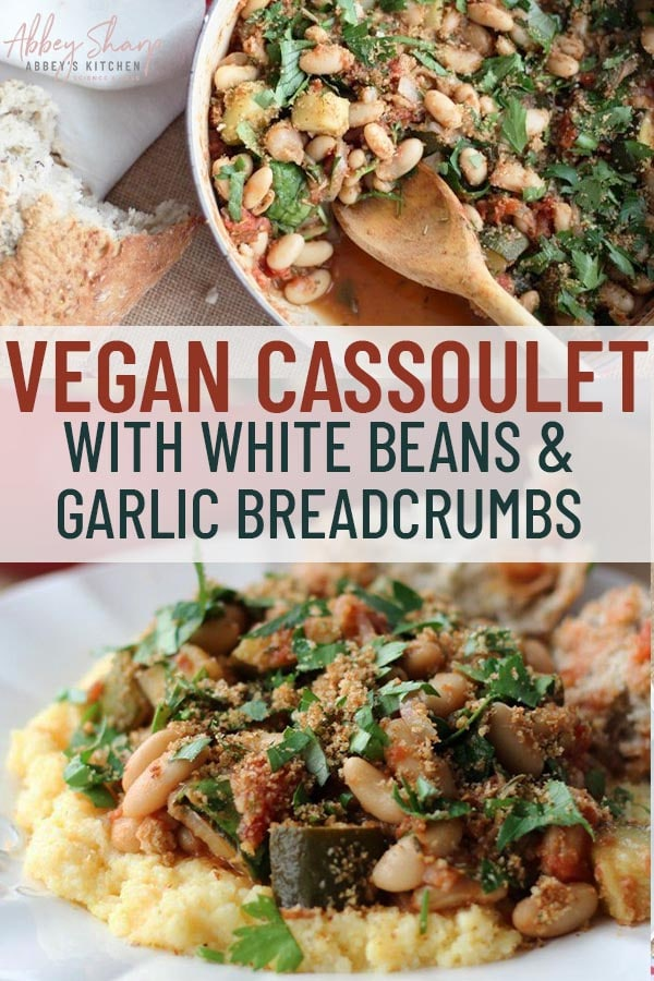 two images of vegan cassoulet