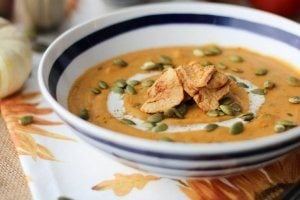 Vegan Curried Sweet Potato Soup with Apples and Cider | Dairy Free & Gluten Free!