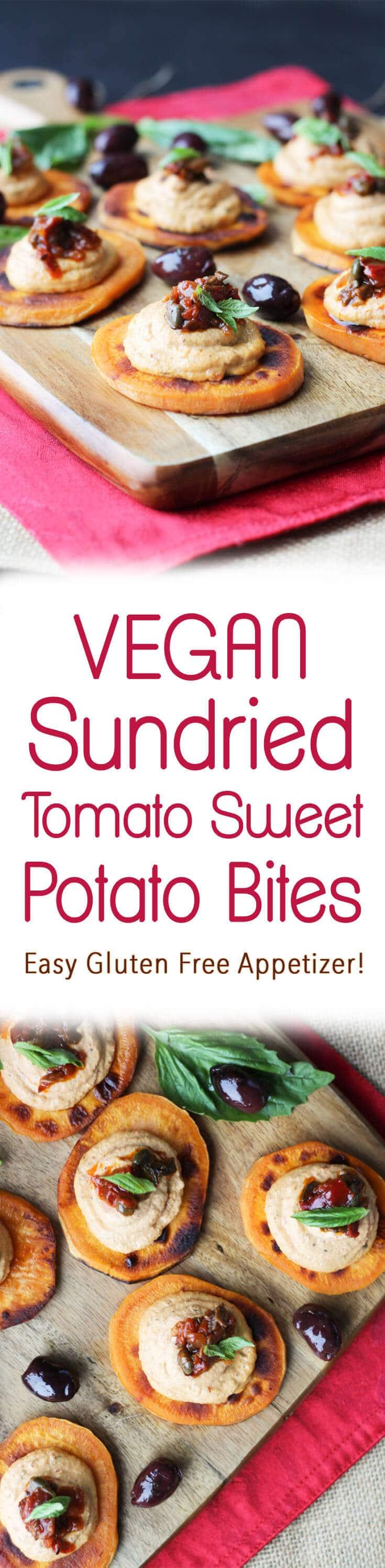 "A pinterest image of multiple sweet potato bites with the text overlay \""Vegan Sundried Tomato Sweet Potato Bites Easy Gluten Free Appetizer!\"""
