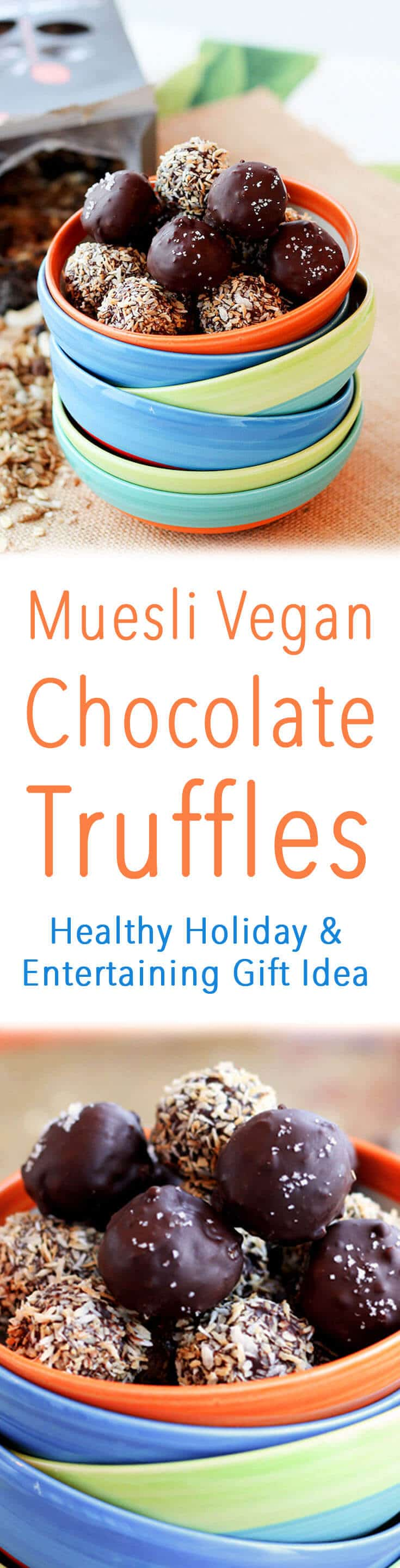 I love these decadent tasting easy vegan chocolate truffles that are free of any butter or cream, and loaded with healthy high fibre muesli.