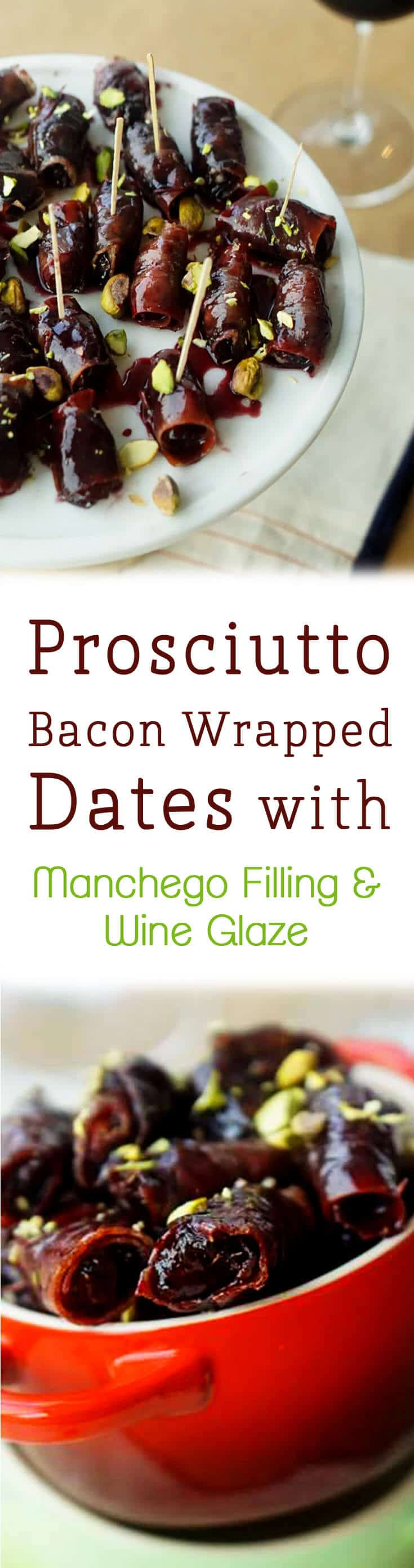 These prosciutto bacon wrapped dates with manchego filling and wine reduction are a perfect bite for a holiday party!