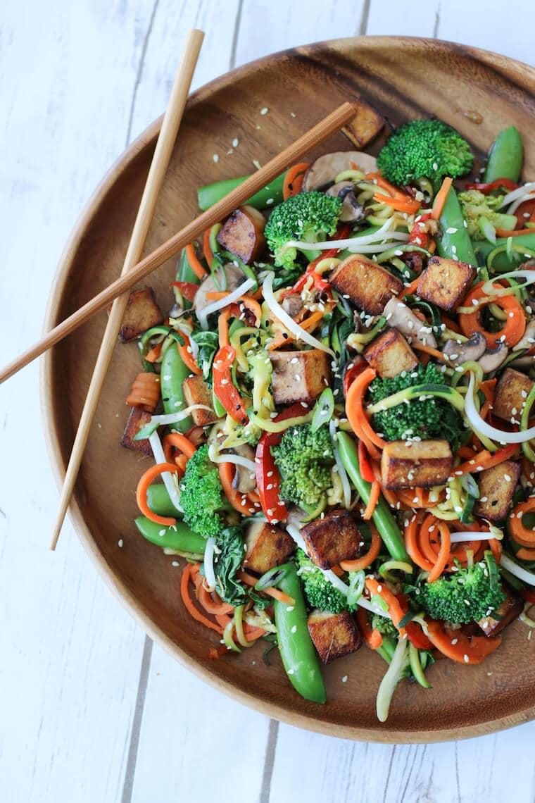 Plate of tofu stir fry with veggies.