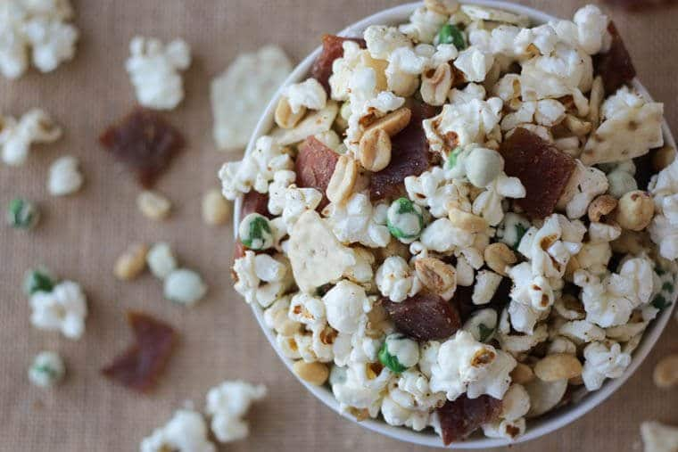 These 3 takes on the High Protein Healthy Party Mix are perfect healthy, gluten-free snacks for entertaining at your cocktail party or holiday soiree made with popcorn and jerky!