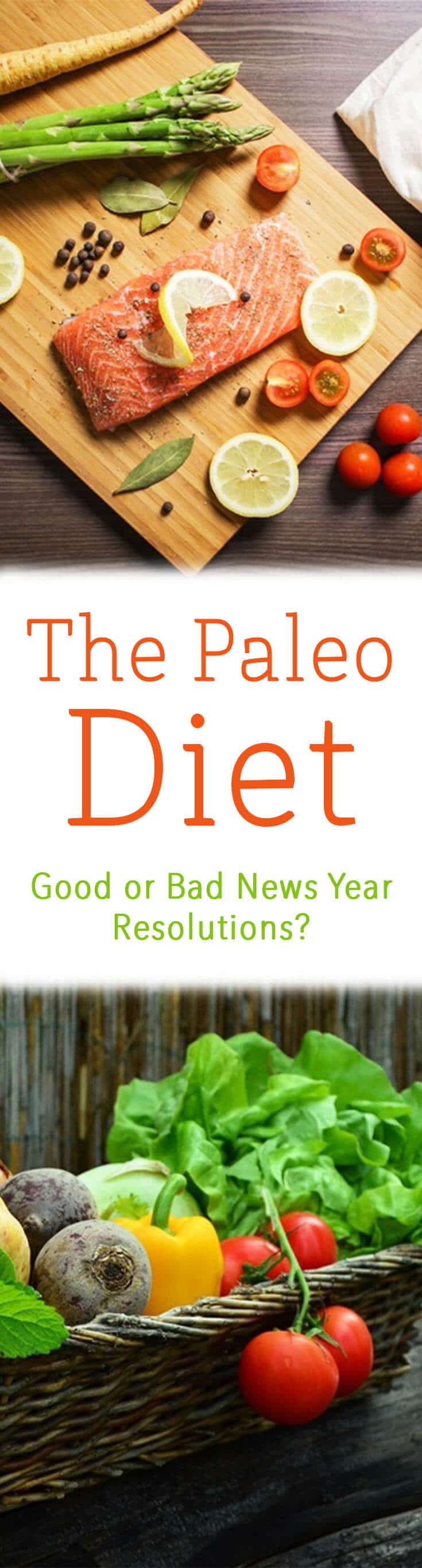 """A pinterest image of paleo friendly foods with the overlay text \""""The Paleo Diet Good or Bad News Year Resolutions?\"""""""