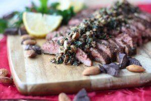 Cocoa Chilli Flank Steak with Chocolate Almond Pesto | Valentine's Day Recipes