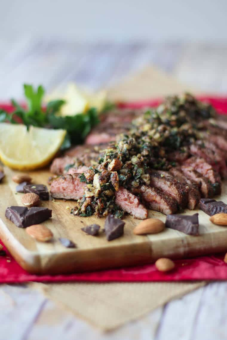 This Cocoa Chilli Flank Steak with Chocolate Almond Pesto is a surprisingly delicious way to treat your loved one this Valentine's Day!
