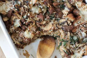 Sausage Strata with Spinach and Swiss Cheese | Healthy Brunch Recipe with Eggs!