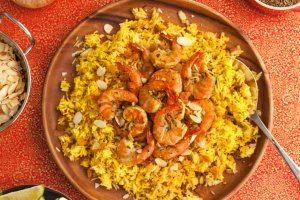 Gluten Free Shrimp Biryani with Indian Shrimp Marinade