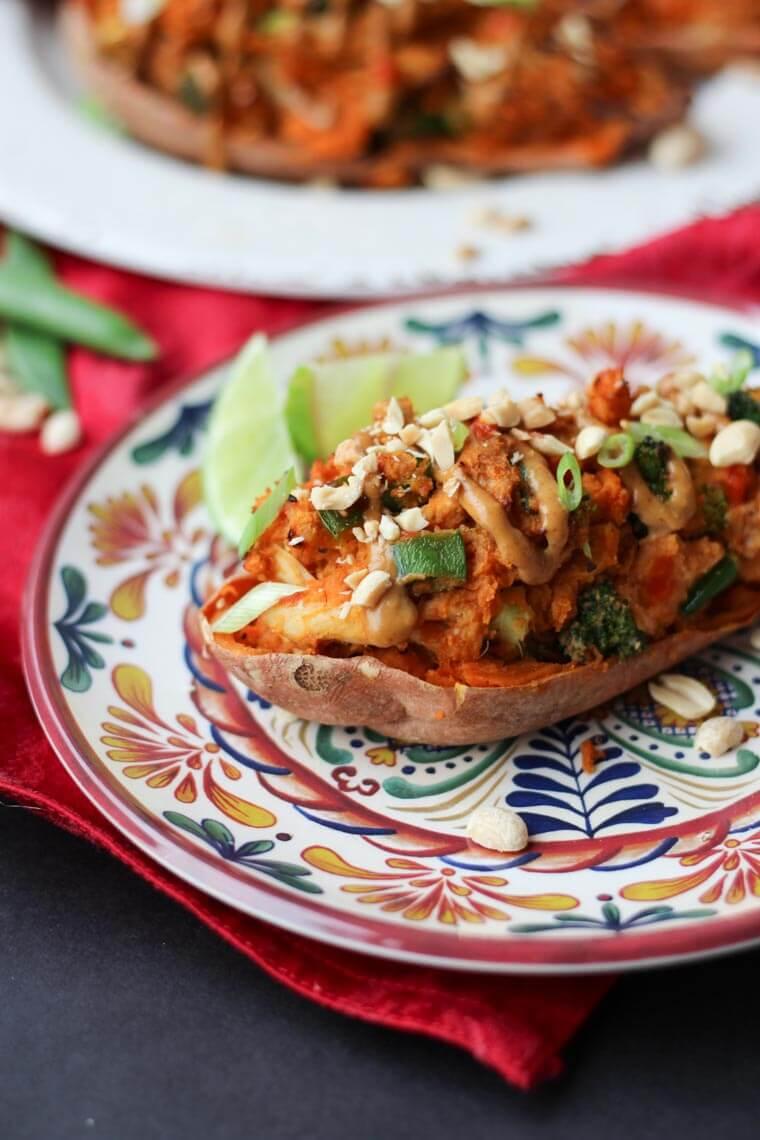 A plate with a sweet potato peanut satay.