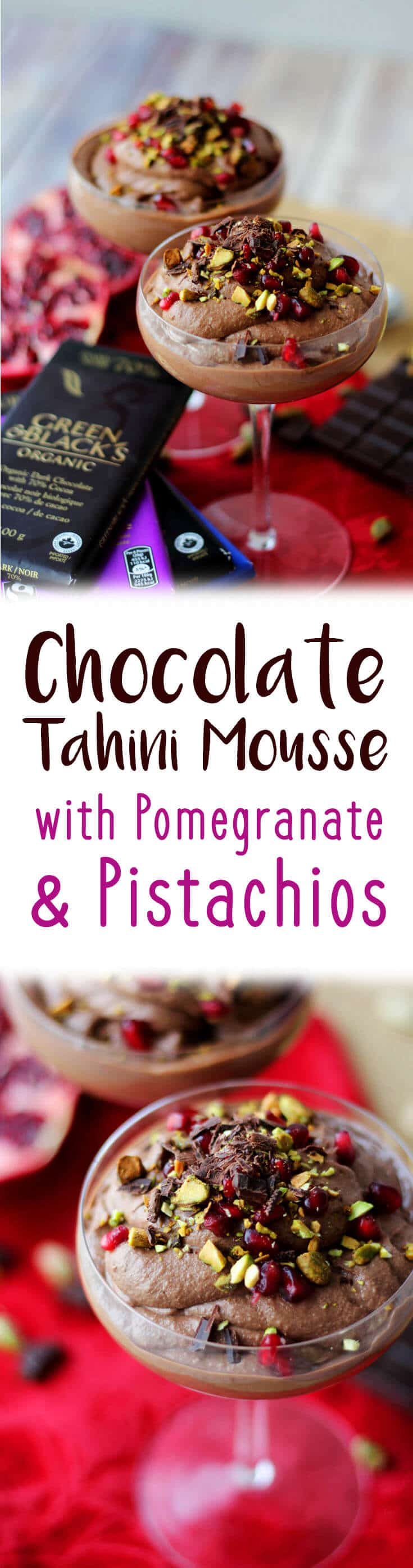 This chocolate tahini mousse with pomegranate and pistachios is a perfect Valentine's Day dessert recipe filled with good-for-you ingredients!