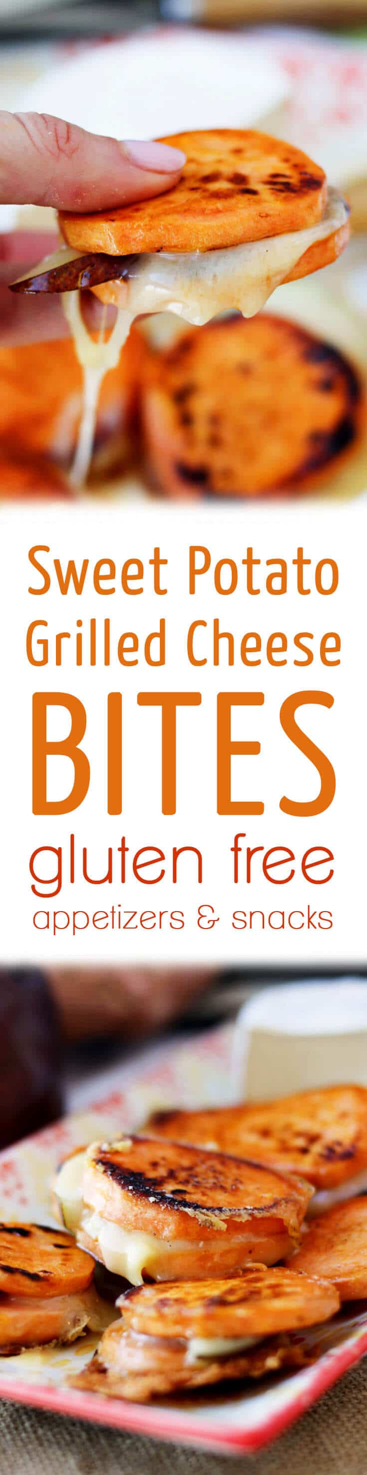 These delicious sweet potato grilled cheese bites are easy no bread gluten free appetizers that your guests, friends and family will totally love.