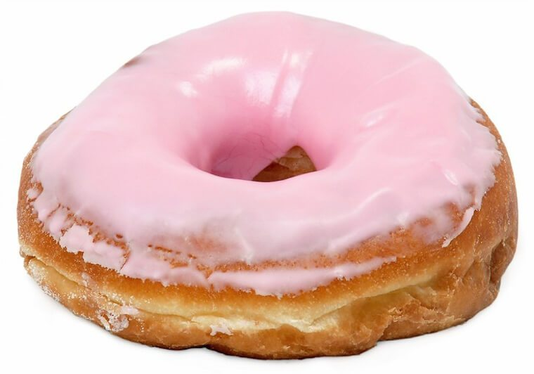 A donut with pink icing.