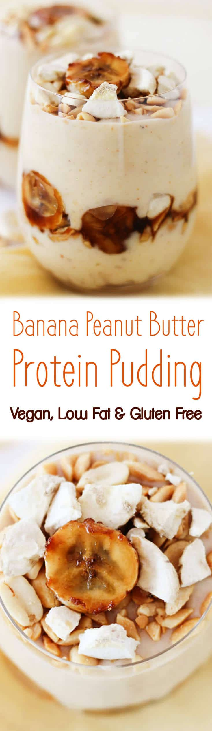 This banana peanut butter protein pudding is vegan, low fat and gluten free- perfect for getting your PB fix!
