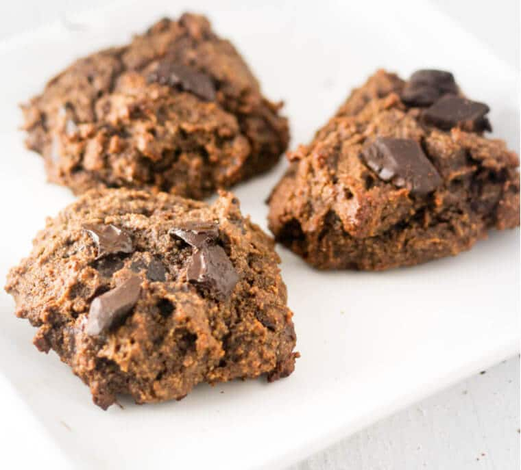 A plate of double chocolate banana cookies.