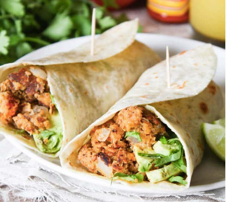 A plate chickpea breakfast burritos.