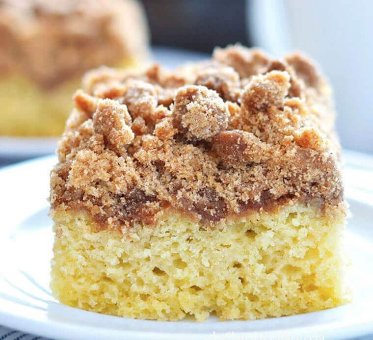 A slice of gluten free cinnamon coffee cake.