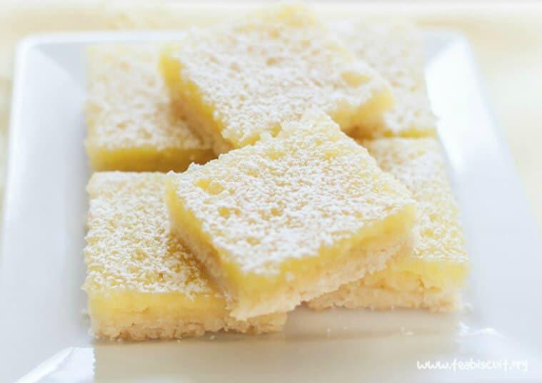 A stack of lemon bars.