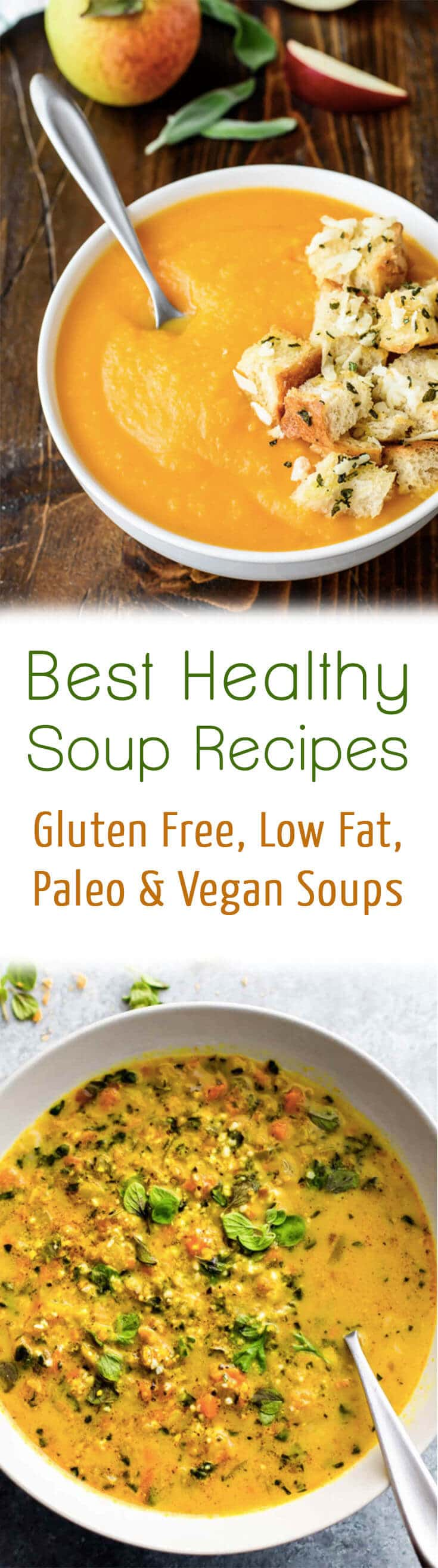 These are the 10 best healthy soup recipes on the web including a round up of gluten free, low fat, paleo and vegan soups to help keep you warm this winter!