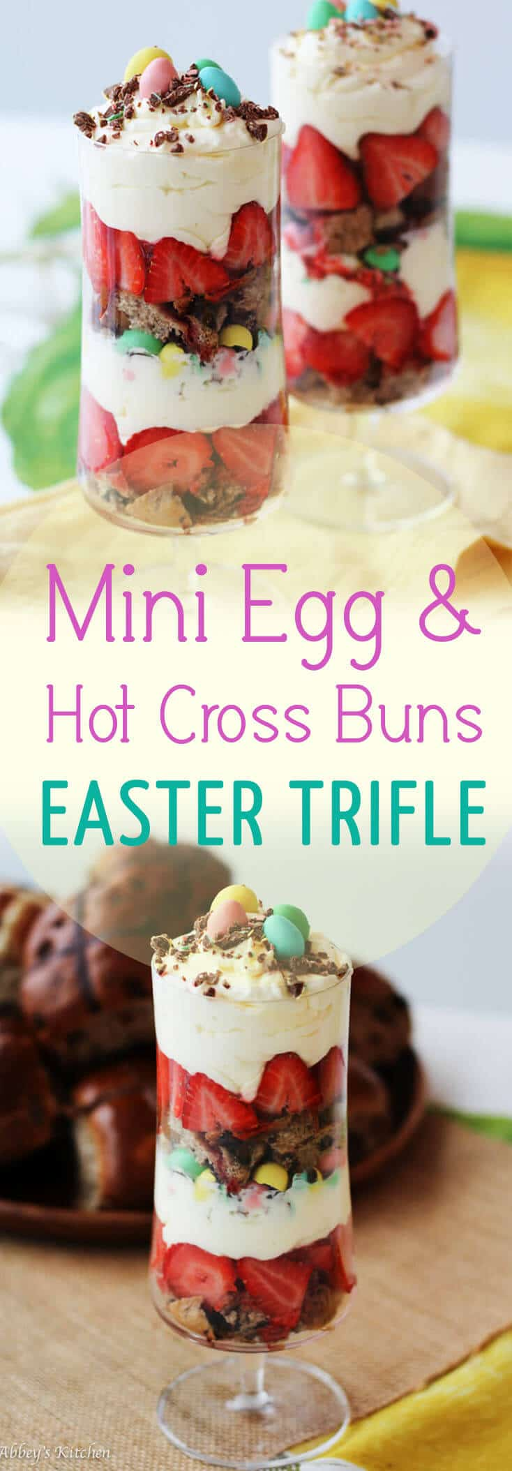 This easy, fun looking Hot Cross Bun and Mini Egg Trifle is perfect for entertaining this easter!