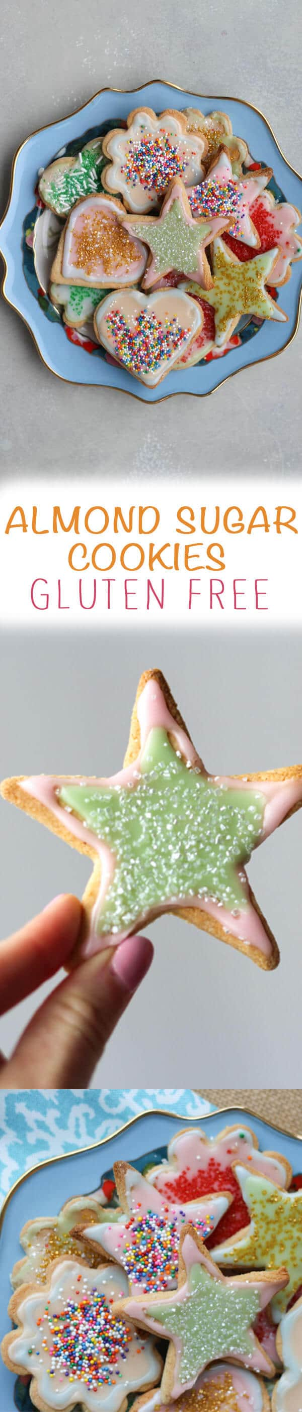 "A pinterest image with sugar cookies with the overlay text ""Almond Sugar Cookies Gluten Free.\"""
