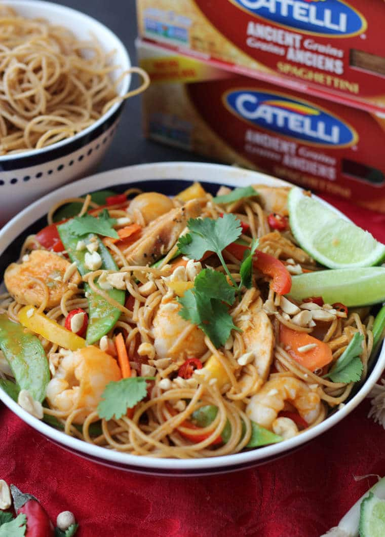 These Healthy Lychee Chicken Curry Noodles are a perfect one pot, high fibre, high protein dinner for easy casual entertaining.