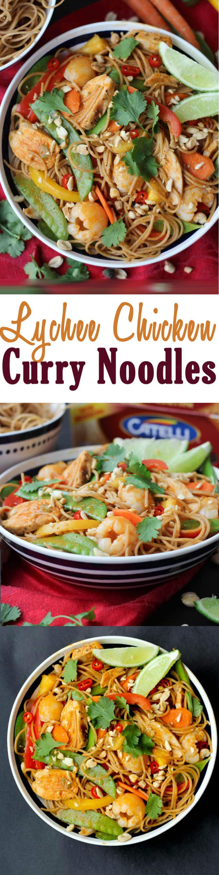 Healthy Lychee Chicken Curry Noodles are a perfect one pot, high fibre, high protein dinner for easy casual entertaining.