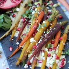 These Za'atar Honey Roasted Carrots with Creamy Hummus is an Gluten Free Spring Easter side dish that's light and balanced, yet a real show stopper for your guests.