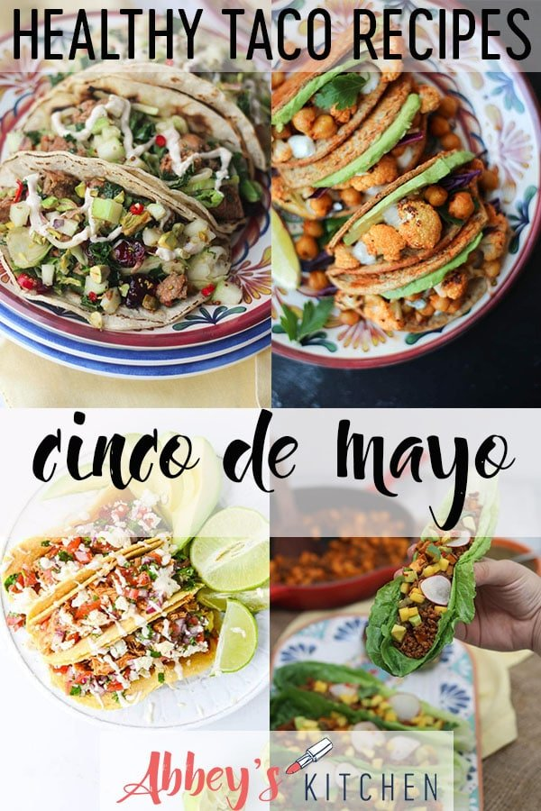 """Pinterest image of multiple tacos with the text \""""healthy taco recipes cinco de mayo.\"""""""