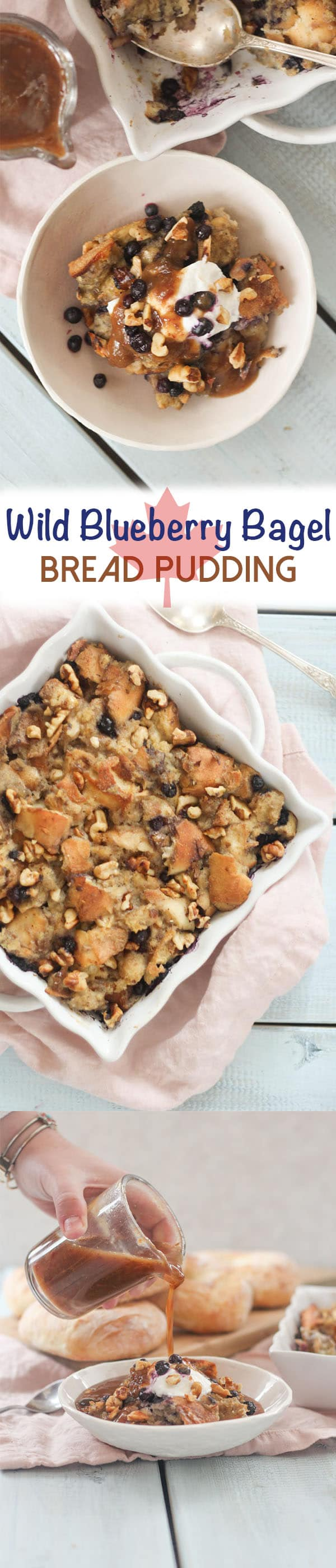This Wild Blueberry Bagel Bread Pudding with Whiskey Date Caramel is a perfect dairy free dessert for Canada Day featuring local Canadian ingredients.