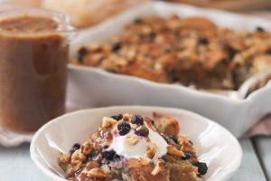 Wild Blueberry Bagel Bread Pudding with Whiskey Date Caramel | Dairy Free Dessert for Canada Day