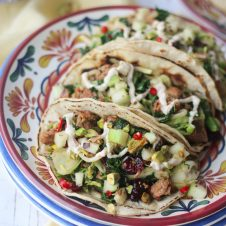 These Gluten Free Maple Sausage and Brussels Sprouts Tacos with Apple Ginger Salsa and Maple Crema are a cozy twist on a Mexican favourite.