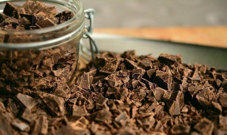 Close up of chopped dark chocolate.