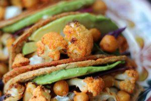 Vegan Buffalo Cauliflower and Chickpea Hard Tacos | Healthy, High Protein Tacos!