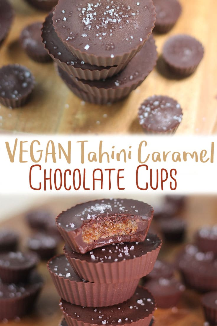 These vegan tahini caramel chocolate cups are the perfect dairy free gluten free no sugar added healthy desserts for those days you just need a sweet fix.