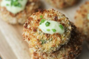 Gluten Free Cheese Stuffed Fish Cakes with Aged Cheddar Sauce | Healthy Appetizer or Dinner Recipe