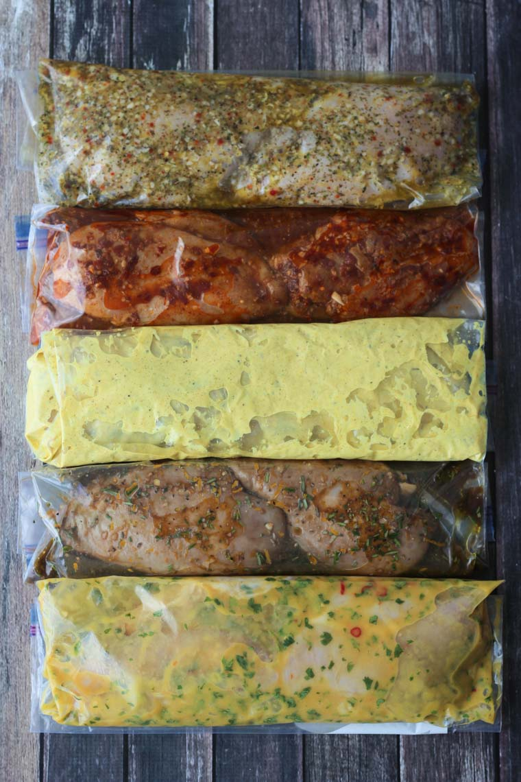 birds eye view of mediterranean, curry, mango, chipotle, and balsamic flavoured marinades for chicken breasts