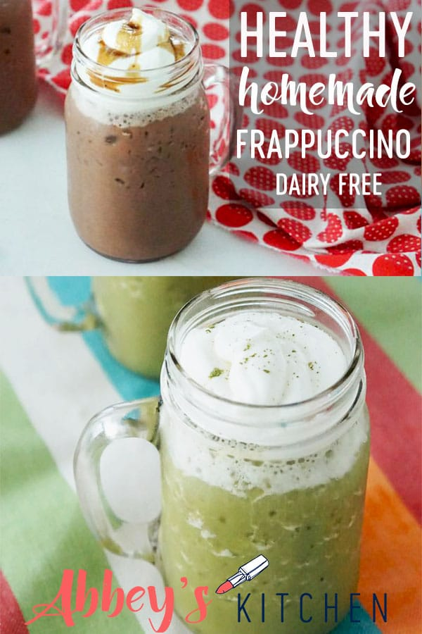 pinterest image of homemade healthy frappuccino recipes with text overlay