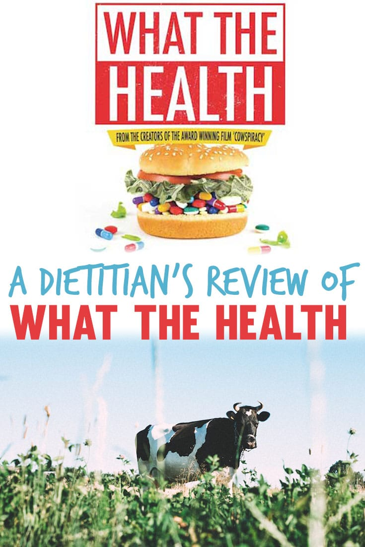 "Pinterest image of a What the Health movie poster and a cattle with the overlay text ""A Dietitian\'s Review of What The Health.\"""