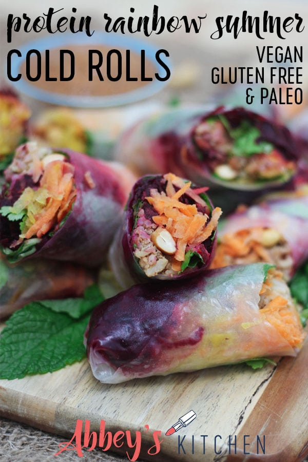 easy protein rainbow summer cold rolls #paleofriendly #vegan #plantbased #summer #coldrolls #appetizer #glutenfreefood #veganappetizer #nobake #easyrecipe