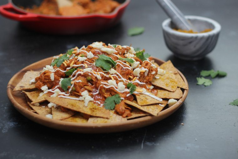 These Healthy Butter Chicken Nachos are the perfect High Protein, Low Carb Party Snacks for any festive get together!
