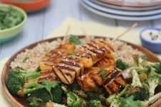 I share my favourite Vegan Sriracha Grilled Tofu and Pineapple Skewers for an easy, fast and healthy gluten free BBQ recipe that the whole family will love!