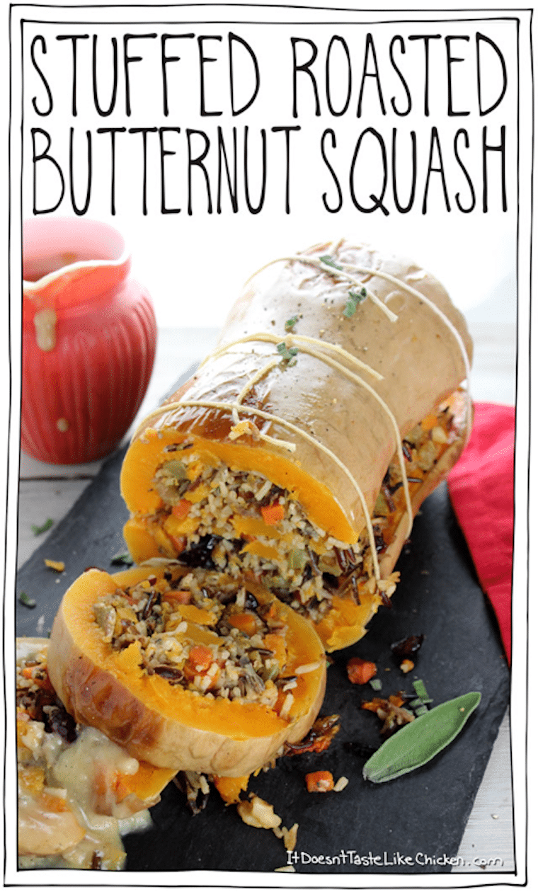 stuffed butternut squash entree with text overlay