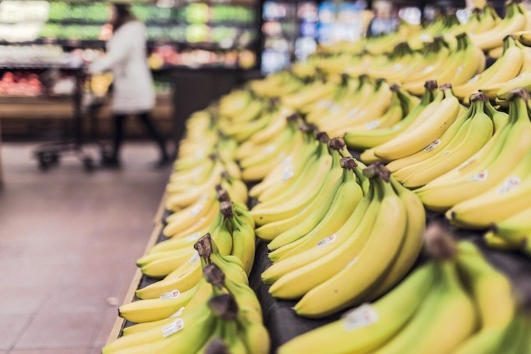 close up of bananas at the grocery store