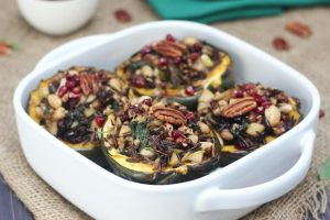 Vegan Stuffed Acorn Squash with Wild Rice, Apples and Caramelized Onions | Gluten Free Plant-Based Thanksgiving