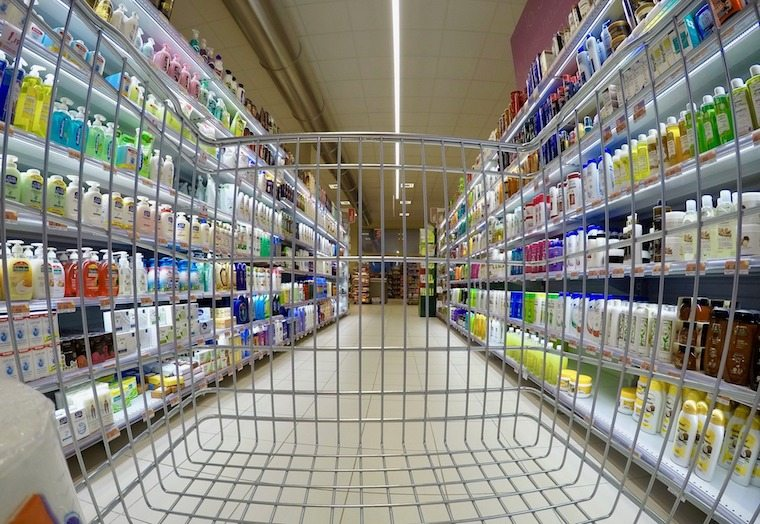 the inside of a cart for grocery shopping