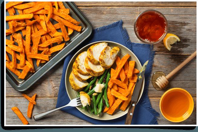 http://mccain.ca/en/recipes/meals/honey-glazed-chicken-sweet-potato-fries