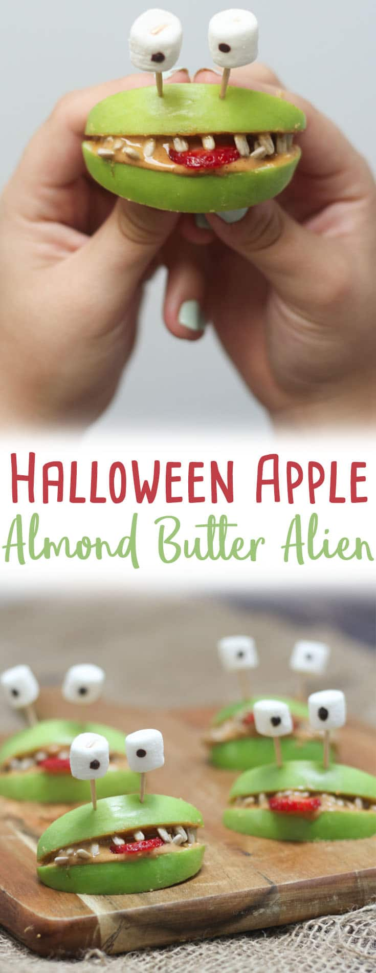 "Pinterest image of Halloween apple alien smiles with marshmallow eyes with the overlay text \""Halloween Apple Almond Butter Alien.\"""