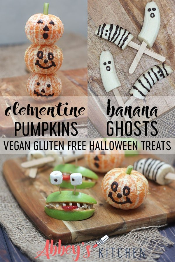 These Halloween Banana Ghosts and Clementine Pumpkins are Vegan, Gluten Free Healthy Trick or Treat Recipes that your little witches and goblins are going to gobble up! #abbeyskitchen #halloween #halloweentreats #vegantreats #healthytreats #healthyeats #glutenfreedessert #vegandessert